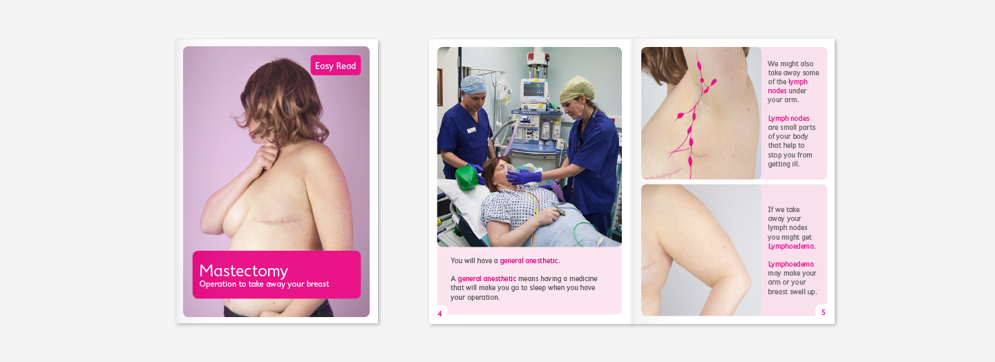 Cover and double page spread from Easy Read Mastectomy leaflet